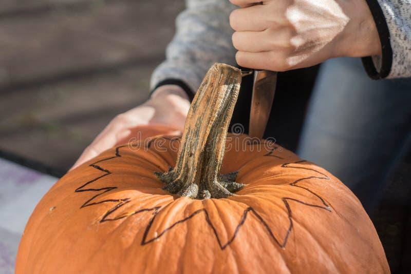 Frau, die Halloween-Kürbishauptsteckfassung, Nahaufnahme schnitzt lizenzfreie stockbilder