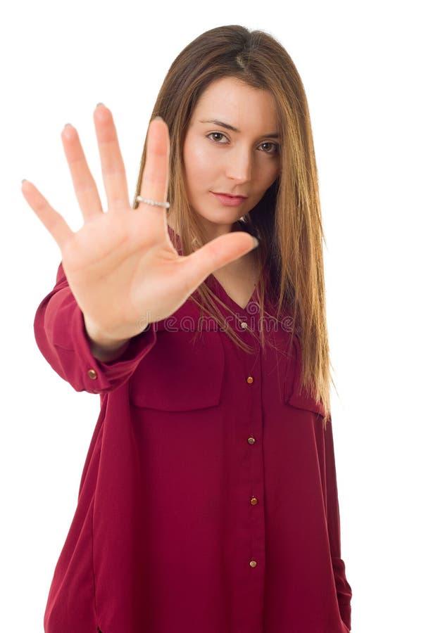 Frau, die Halt macht lizenzfreie stockfotos