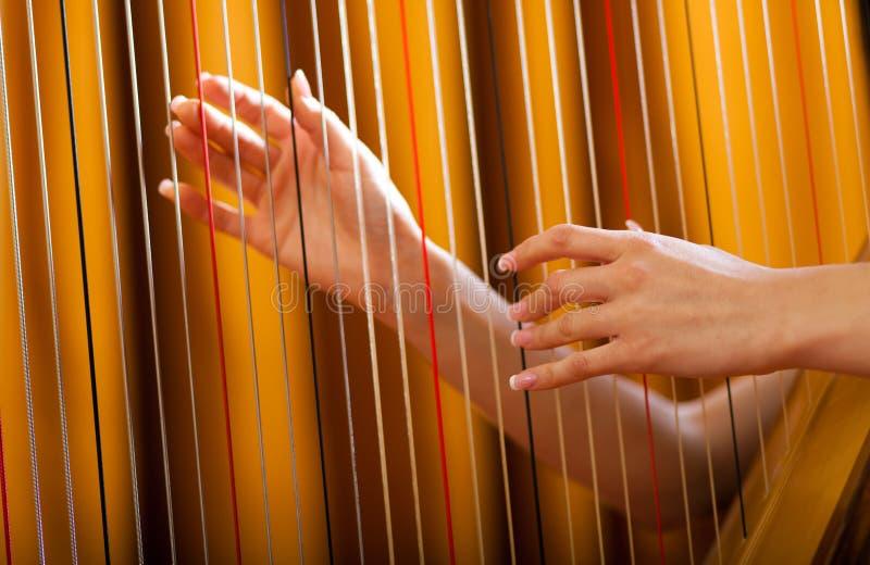 Frau, die Harfe spielt stockbild