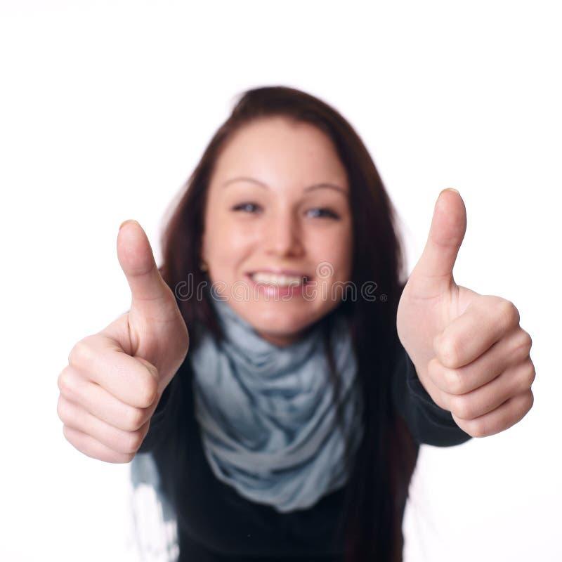 Frau, die heraus ihre Hand anhält stockbilder