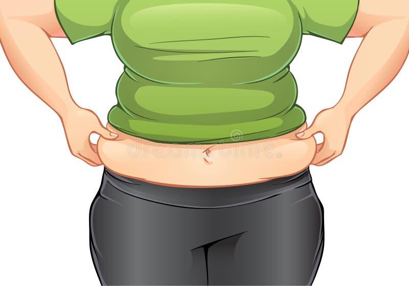 Frau, die ihr Fett auf dem Magen ergreift vektor abbildung