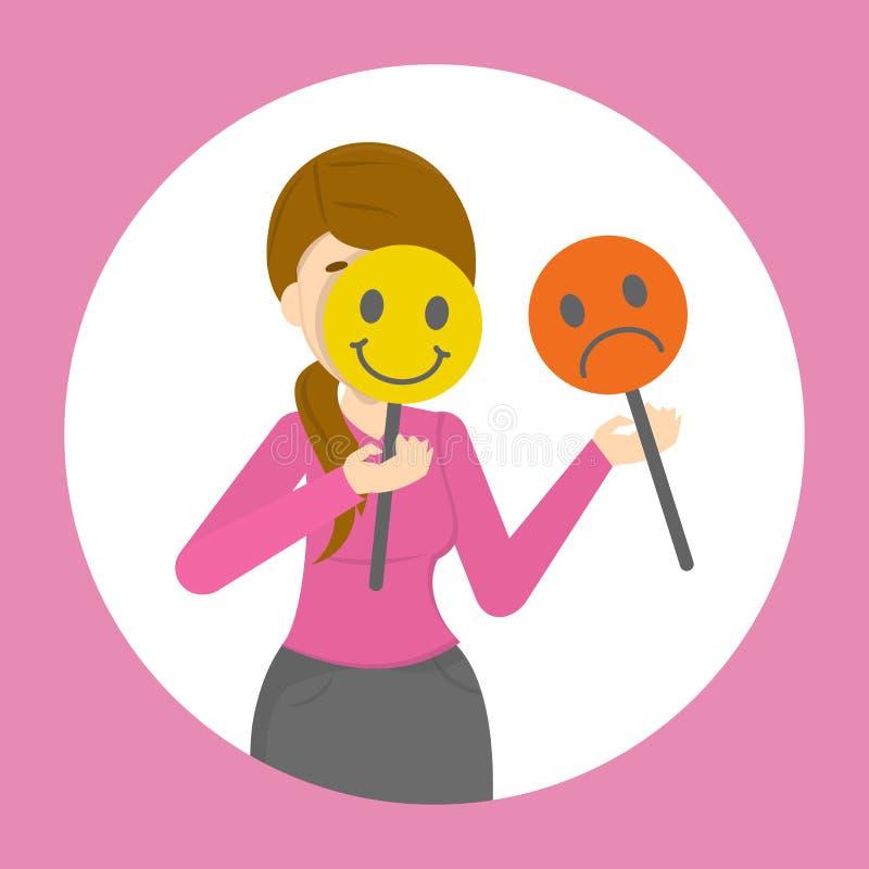 Frau, die ihr Gesicht hinter Stimmungsmaske versteckt stock abbildung