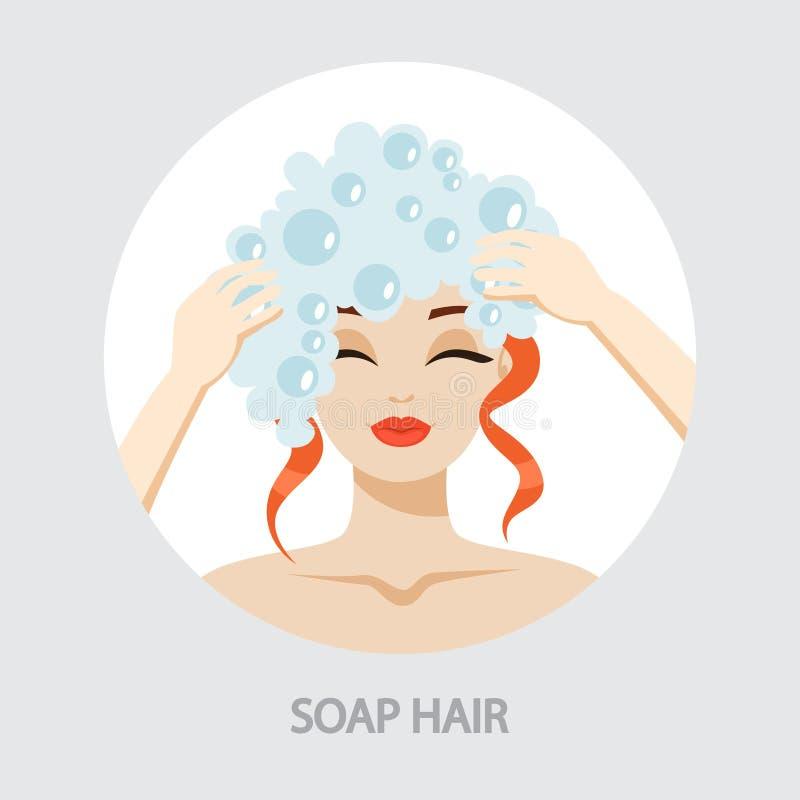 Frau, die ihr Haar mit Shampoo in der Dusche wäscht vektor abbildung