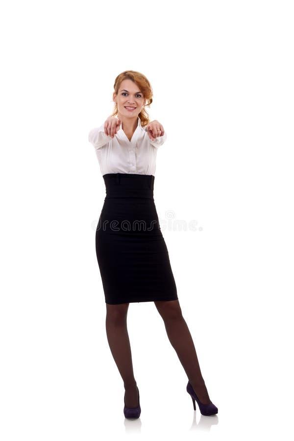 Frau, die ihre Finger zeigt stockbild