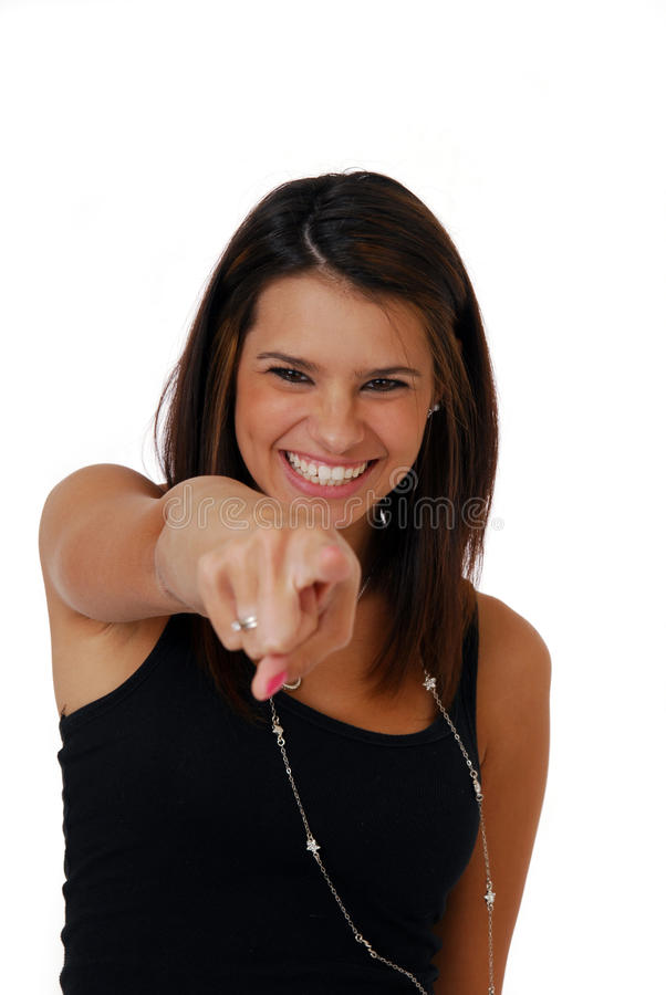 Frau, die ihren Finger zeigt stockfotos