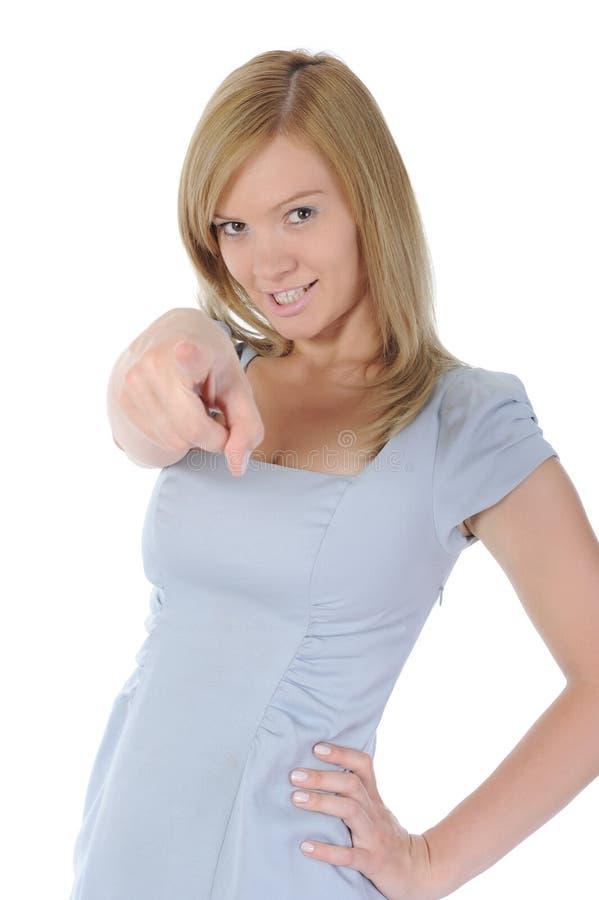 Frau, die ihren Finger zeigt. lizenzfreies stockfoto
