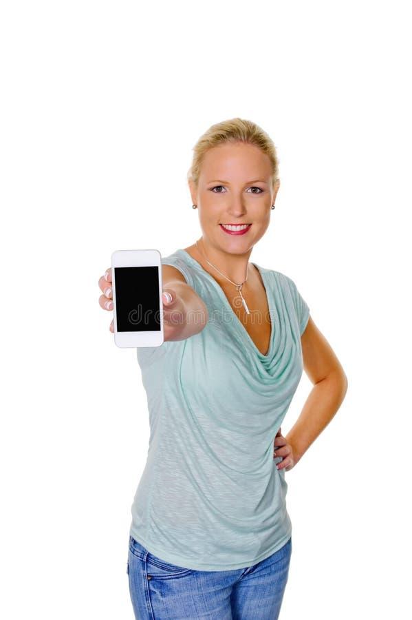 Frau, die ihren Handy verwendet stockfotos
