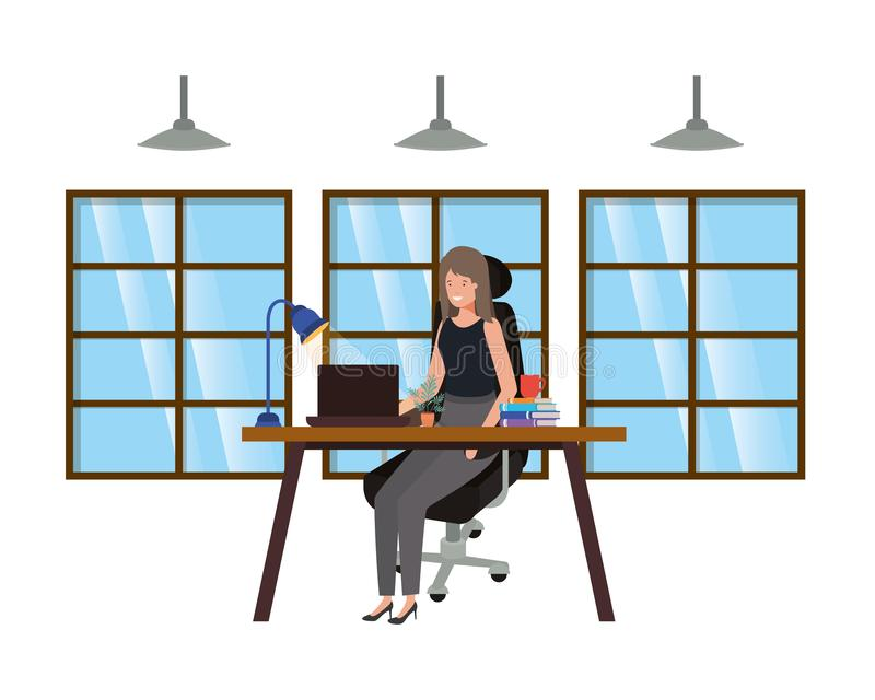 Frau, die im Büroavataracharakter arbeitet stock abbildung