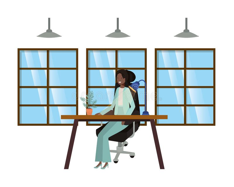 Frau, die im Büroavataracharakter arbeitet vektor abbildung
