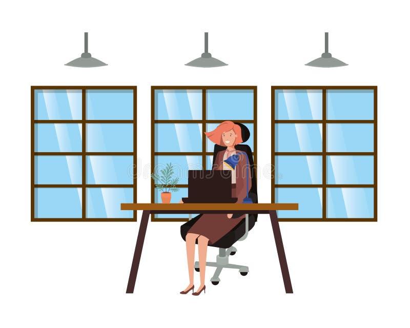 Frau, die im Büroavataracharakter arbeitet lizenzfreie abbildung