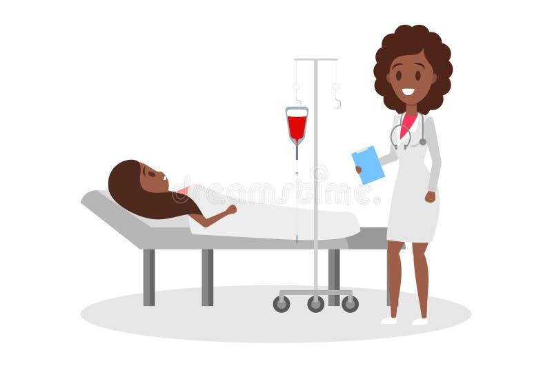 Frau, die im Krankenhaus-Bett liegt Tropfenf?nger mit Blut vektor abbildung