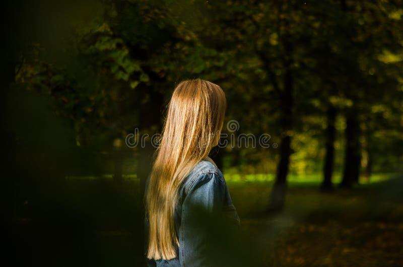 Frau, die im Park, gestaltet durch Blätter steht lizenzfreie stockbilder