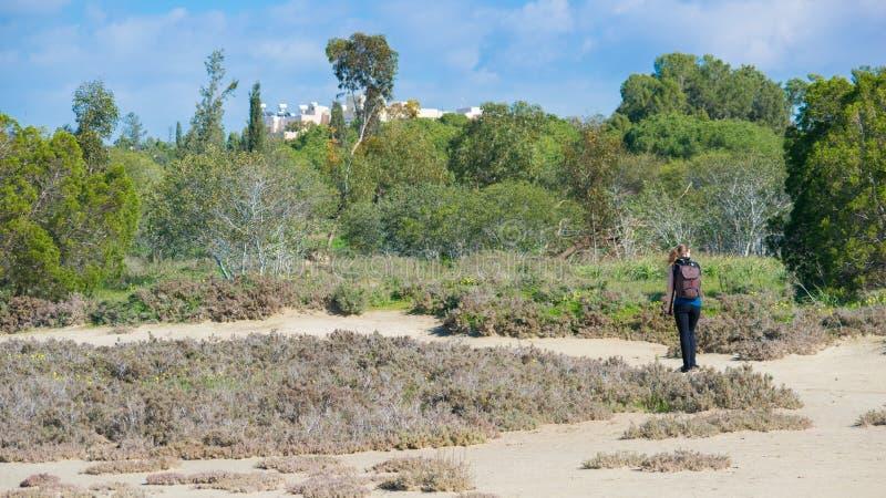 Frau, die im Park wandert lizenzfreies stockbild