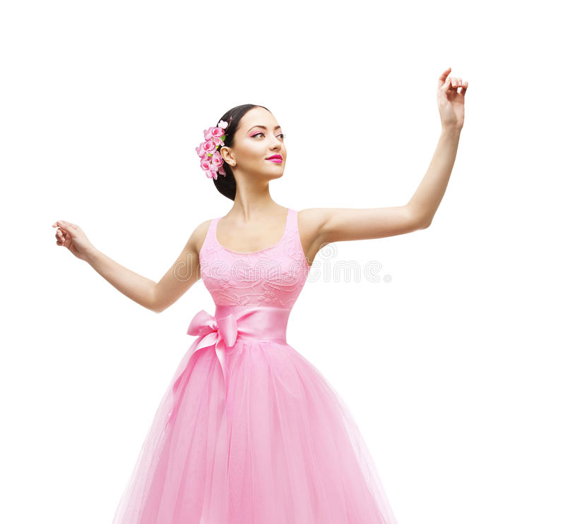 Frau, die im rosa Kleid, Mode-Modell High Waist Gown sich berührt stockfotos