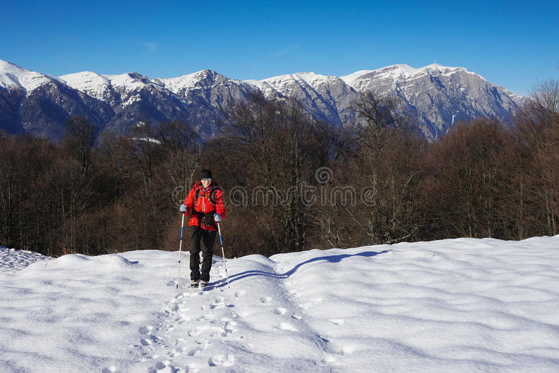 Frau, die im Winter wandert lizenzfreies stockbild