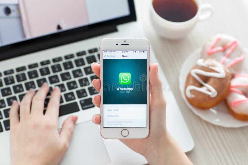 Frau, die iPhone 6S Rose Gold mit Sozialeinrichtung WhatsApp hält lizenzfreie stockfotos