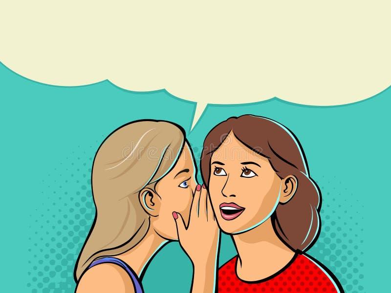 Frau, die Klatsch oder Geheimnis zu ihrem Freund flüstert Zwei sprechenfreunde vektor abbildung