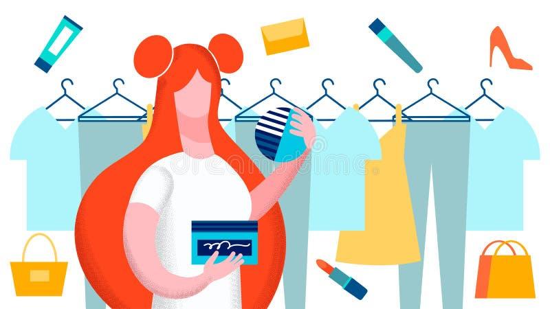 Frau, die Kleidungs-Vektor-flache Illustration wählt stock abbildung