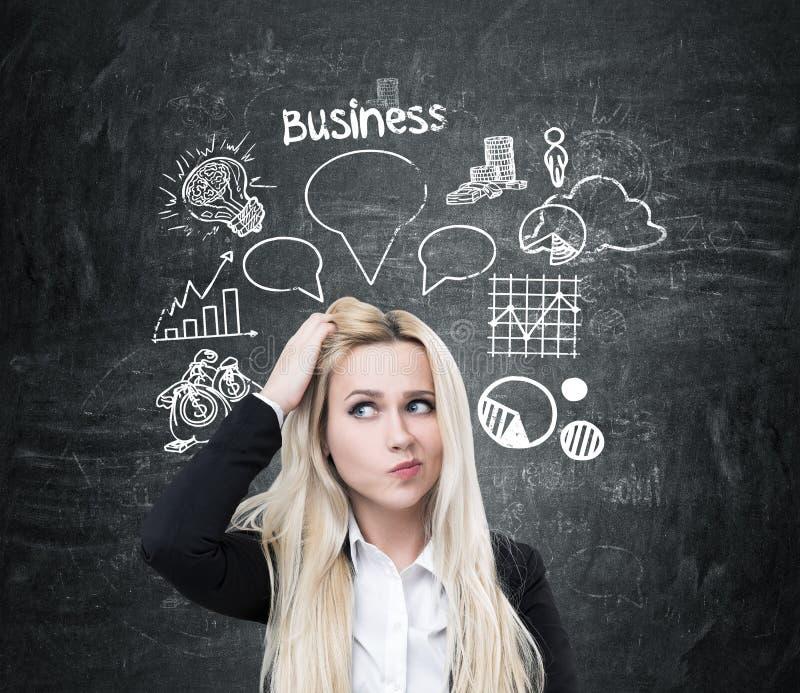 Frau, die Kopf und Geschäftsblase verkratzt lizenzfreie stockfotografie