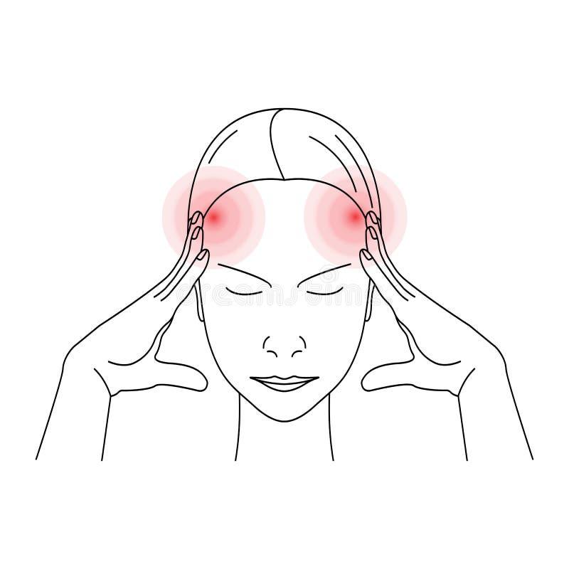 Frau, die Kopfschmerzen oder die Schmerz hat lizenzfreie abbildung
