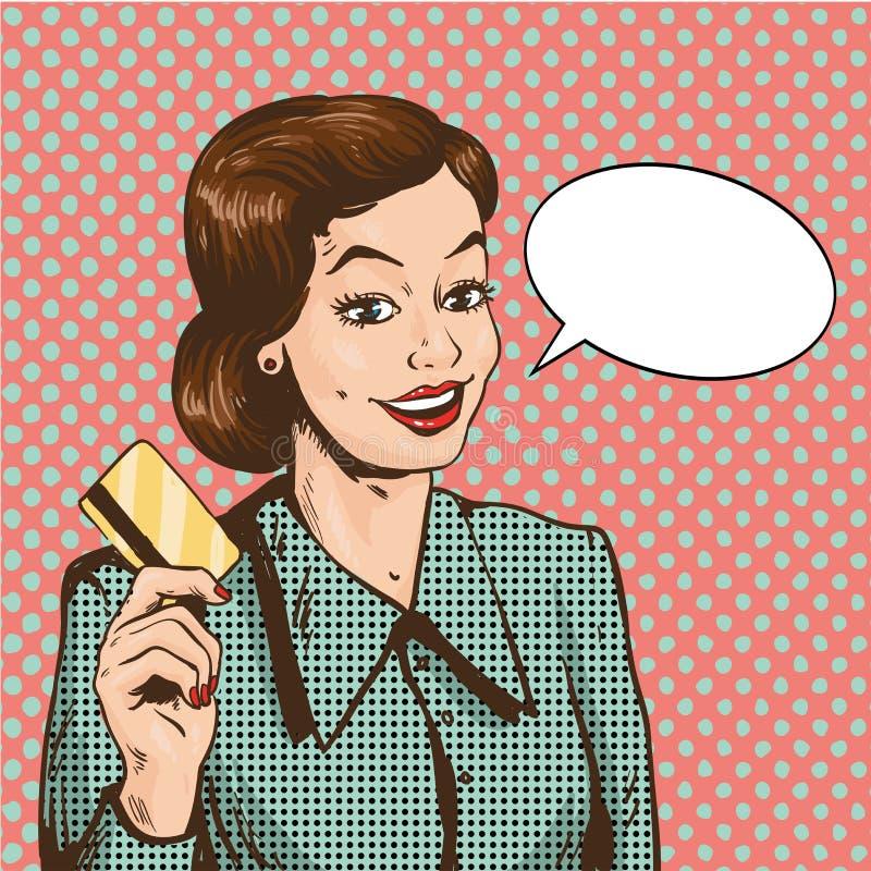Frau, die Kreditkartevektorillustration in der Retro- Pop-Arten-Art hält Einkauf mit Bankkartekonzept lizenzfreie abbildung