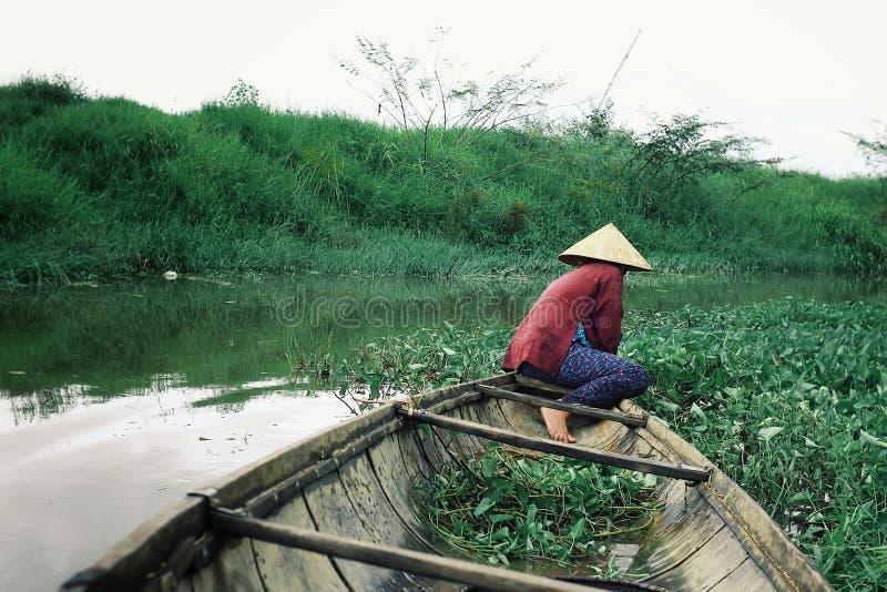 Frau, die Lebensmittelinhaltsstoffe in einem Kanu auf einem kleinen Kanal sammelt stockbilder