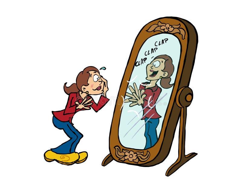 Frau, die Lob von ihrer Reflexion im Spiegel empfängt lizenzfreie abbildung