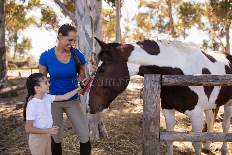 Frau, die Mädchen für Reinigungspferd unterstützt stockfotos