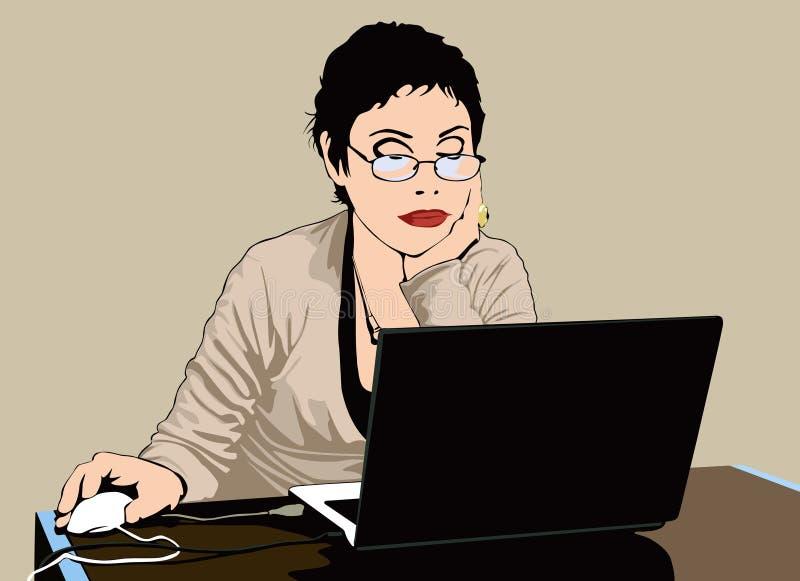 Frau, die mit einem Computer arbeitet stock abbildung