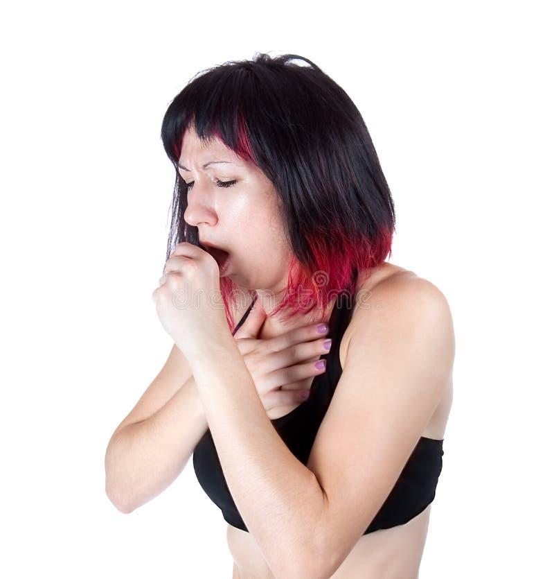 Frau, die mit einem falschen Husten und einer Kälte leidet stockfotos