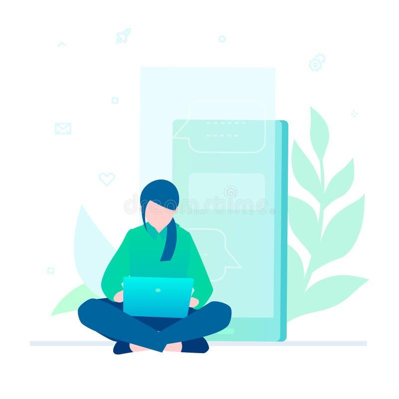 Frau, die mit einem Laptop - bunte Illustration der flachen Designart arbeitet vektor abbildung