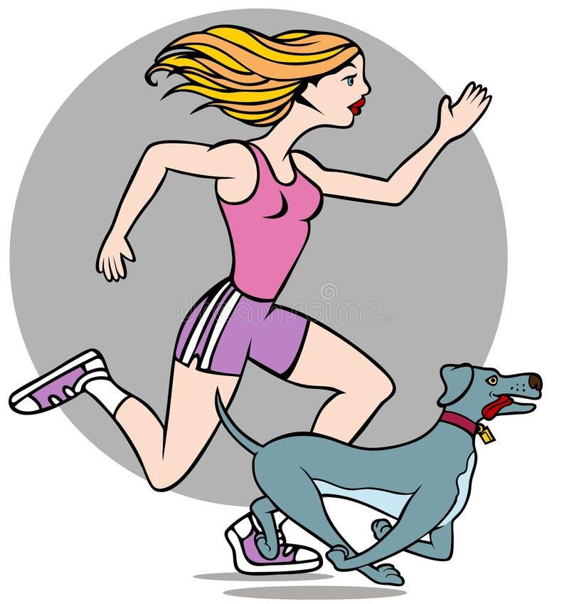 Frau, die mit Hund läuft lizenzfreie abbildung