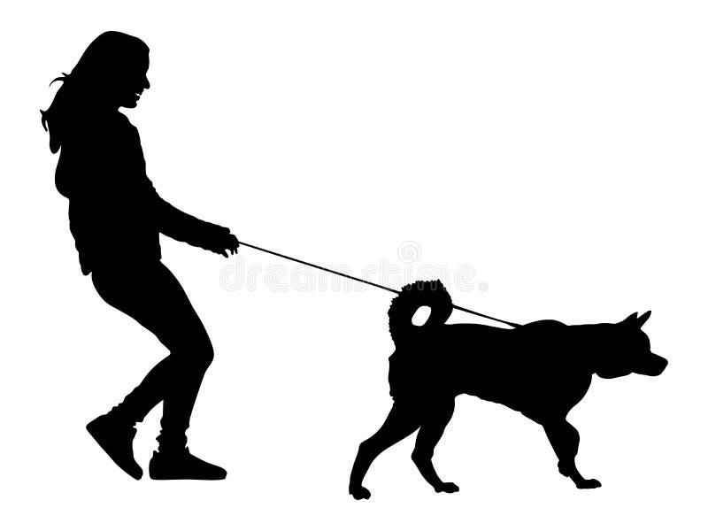 Frau, die mit Hundeschattenbild geht vektor abbildung
