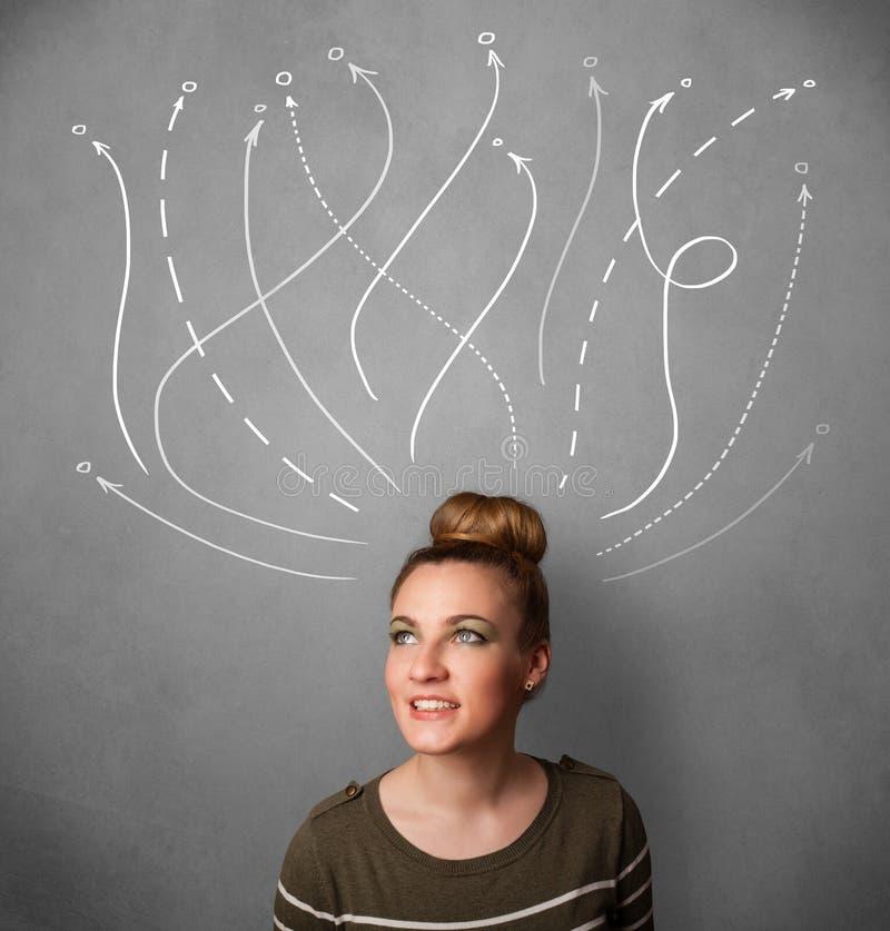 Frau, die mit Pfeilen in den verschiedenen Richtungen über ihren Kopf denkt stockfotografie