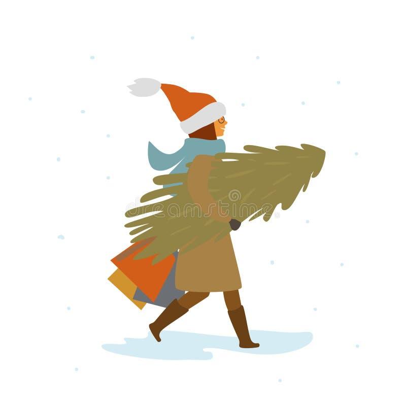 Frau, die mit Weihnachtskiefer und Einkaufstaschen, Seitenansicht, lokalisierte Vektorillustration geht lizenzfreie abbildung