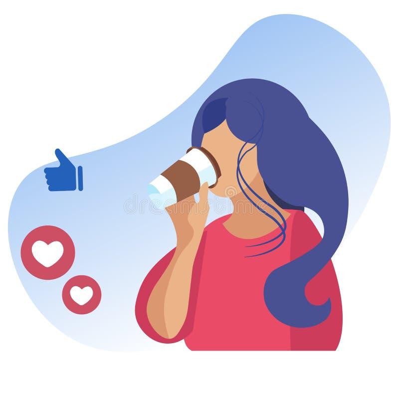 Frau, die Mitnehmerkaffee und Soziales Netz trinkt vektor abbildung