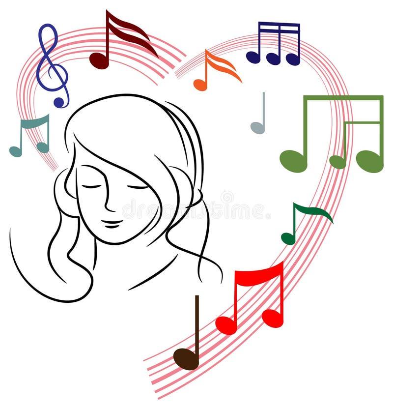 Frau, die Musik hört vektor abbildung