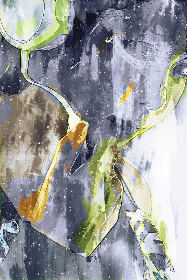Frau, die Musik mit Kopfhörer, malende Illustration Digital hört stock abbildung