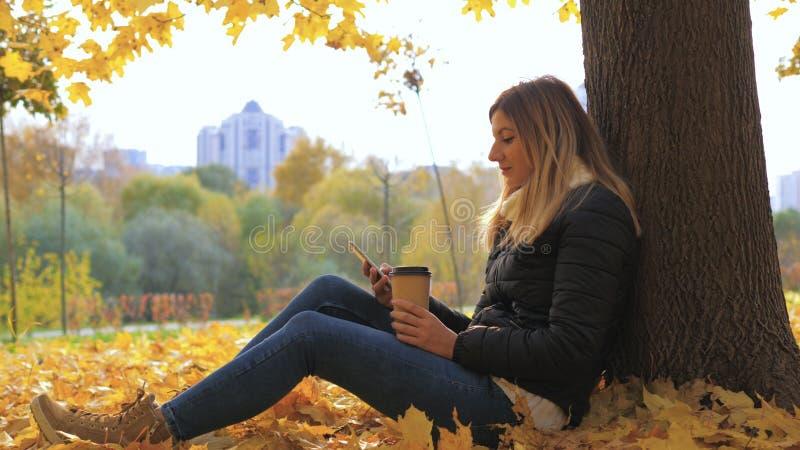 Frau, die nahe Baum in den gelben Fall-Blättern, im Gebrauch Apps und in trinkendem Kaffee sitzt stockfotos