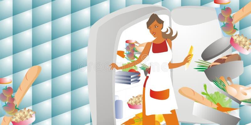 Frau, die Nahrung wählt stock abbildung