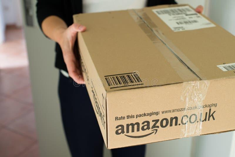 Frau, die Paket empfängt lizenzfreie stockbilder