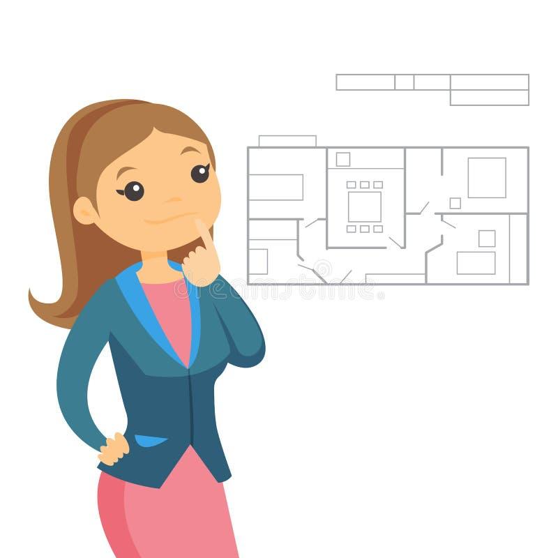 Frau, die an Plan der neuen Wohnung denkt stock abbildung