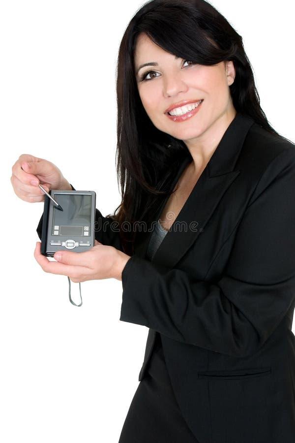 Frau, die Produkt demonstriert stockbild