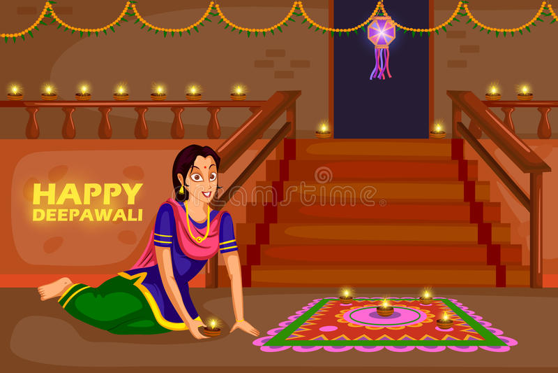 Frau, die rangoli für Diwali-Feierfestival von Indien macht vektor abbildung