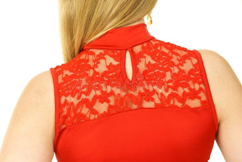 Frau, die rote Spitze tr?gt stockbilder