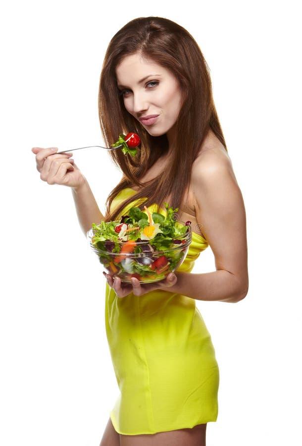 Download Frau, die Salat isst stockbild. Bild von zuhause, haar - 26372705