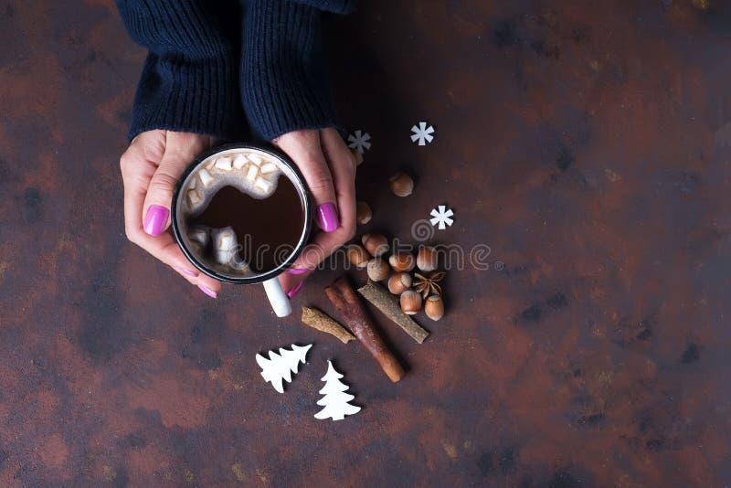 Frau, die Schale heiße Schokolade hält lizenzfreies stockbild