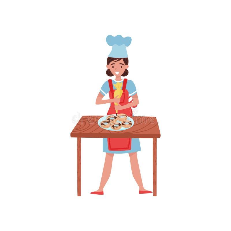Frau, die Schaumgummiringe mit Gebäcktasche verziert Konditor oder Bäcker in Arbeitsuniform Flaches Vektordesign stock abbildung