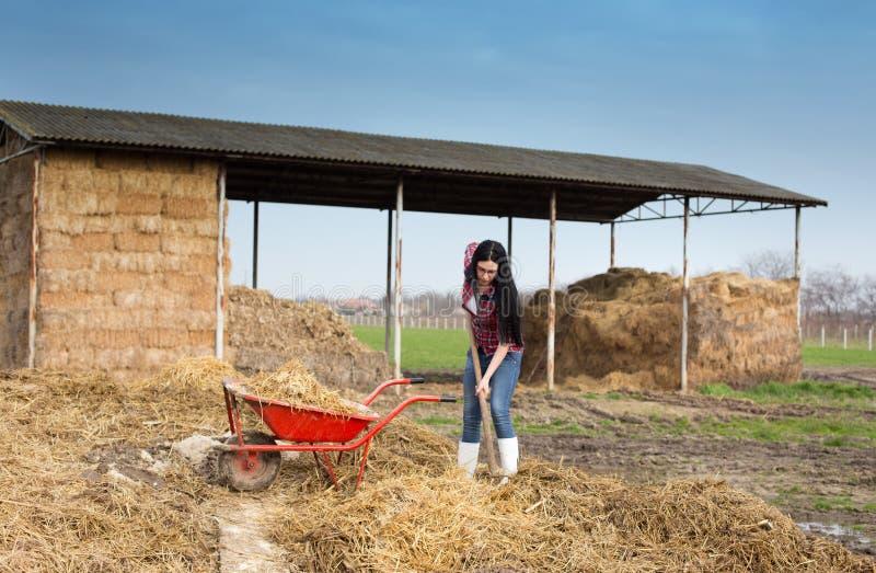 Frau, die schmutzige Arbeiten über Bauernhof bearbeitet lizenzfreies stockbild