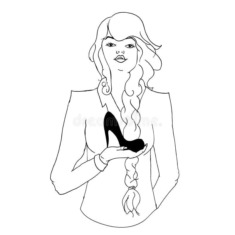 Frau, die Schuhe hält stock abbildung